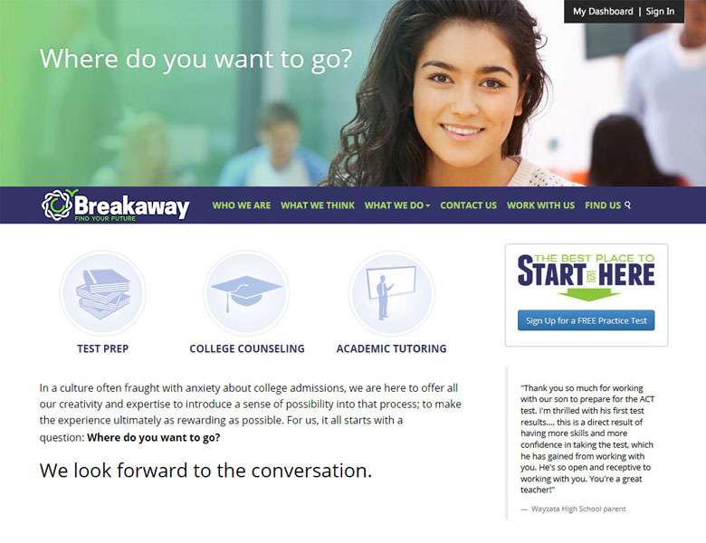 BreakawayPrep.com: Web Design/Development
