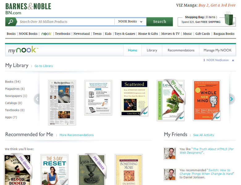 Barnes & Noble: MyNook Library - Front-end Development