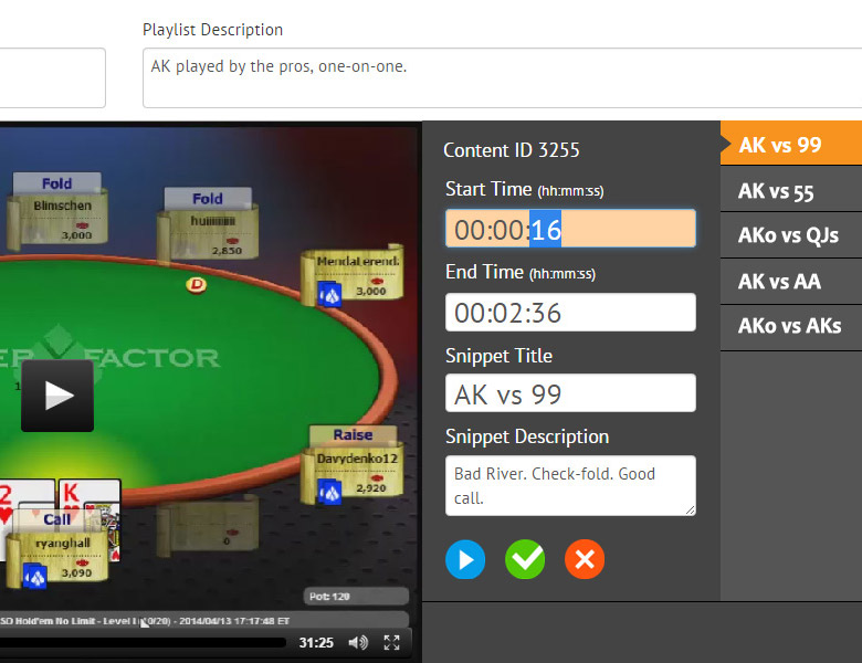 PokerXFactor Playlist Editor: Web App - Front-end Development